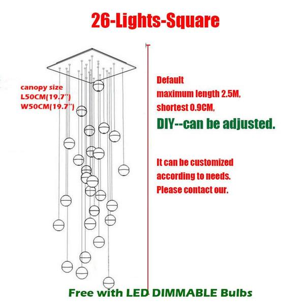 26 Heads L50*W50cm Square