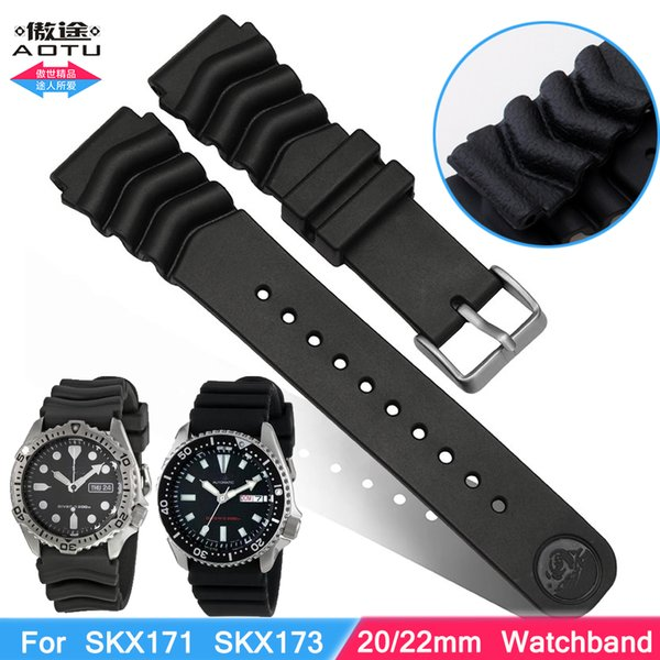 Replacement for Rubber Diver Watch Strap silicone Band for SKX171 SKX173 SBBN013 DAL0BP 22mm 20mm Pin Buckle Men+Free Tool
