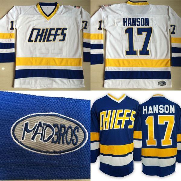 #17 Steve Hanson Charlestown Chiefs Jersey, Men's Hanson Brother Slap Shot 100% Stitched Embroidery Logos Movie Hockey Jerseys Blue White