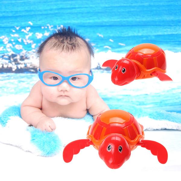 Gros- Nouveau bébé enfants en plastique de bain jouet bébé nager tortue chaîne Clockwork barbotant jouet de bain jouet