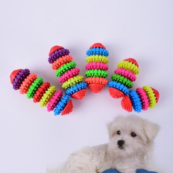 top popular Small Pet Dog Puppy Colorful Rubber Dental Teething Healthy Teeth Gums Chew Toys 2021