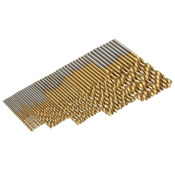 50Pcs Twist Drill Bits Saw High Steel Titanium Coated Drill Set Wood Metal RU