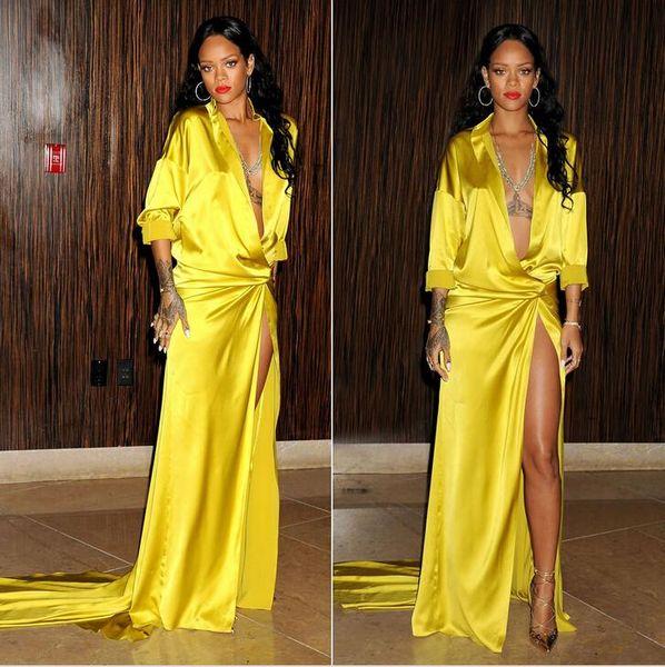 Sexy Rihanna grammy Yellow Slit Side vestidos de noche manga larga Profundo cuello en V Sweep train Por encargo alfombra roja Celebrity Dress