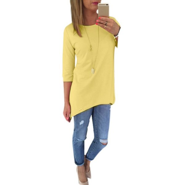 Wholesale- Spring Women Solid Candy Color Top Loose Office Lady Career Shirt Casual Long T Shirt