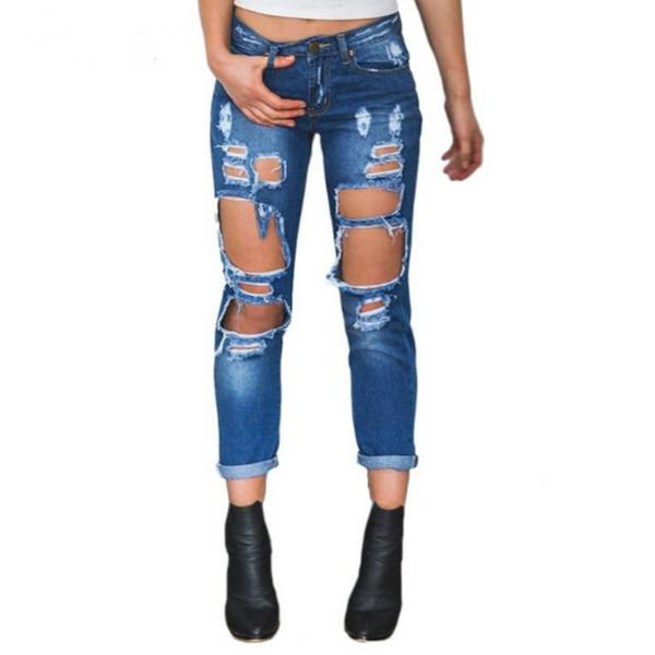 Boyfriend Loch zerrissene Jeans Frauenhosen Coole Denim Vintage gerade Jeans für Mädchen Mid Taille beiläufige Hosen weiblich