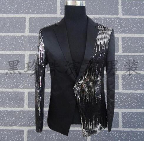 Black men suits designs masculino homme terno stage costumes for singers men sequin blazer dance clothes jacket style