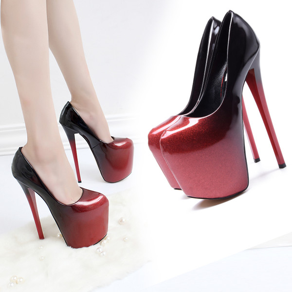 cf3a57d9a28a Ultra High Heels 19cm Platform Patent Leather Sexy Women's Shoes Thin Heel  Women Pumps Shallow Mouth