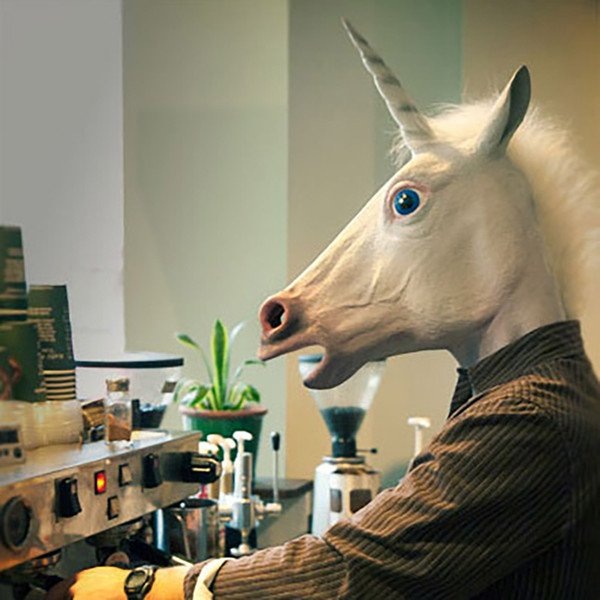 Hot Creepy Unicorn Horse Mask Head Halloween Costume Theater Prop Novelty Latex Rubber Free Shipping XL-243