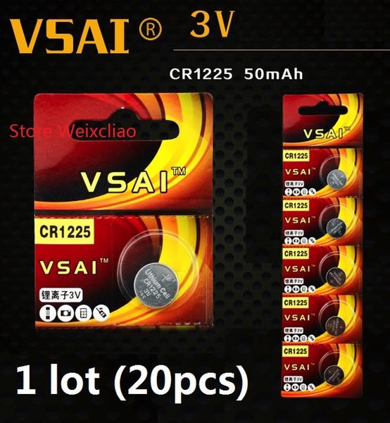 20pcs 1 lot CR1225 3V lithium li ion button cell battery CR 1225 3 Volt li-ion coin batteries VSAI Free Shipping