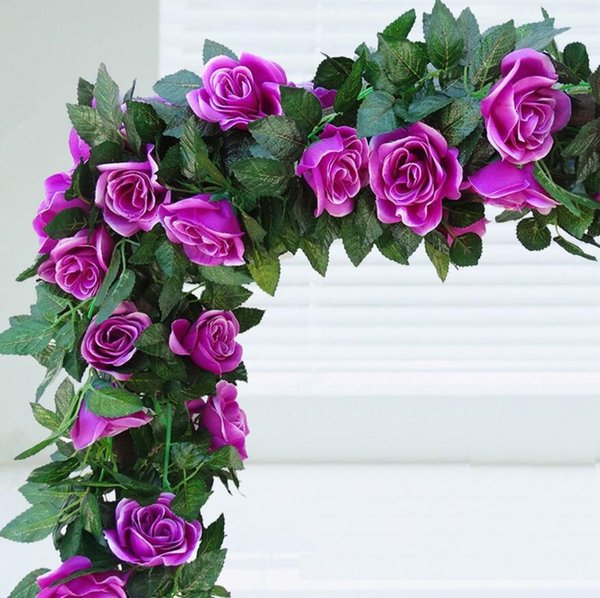 2pcs Artificial Rose Flower Leaf Garland Ivy For Plant Wall Background Wedding Party Home Office Bar Decorative