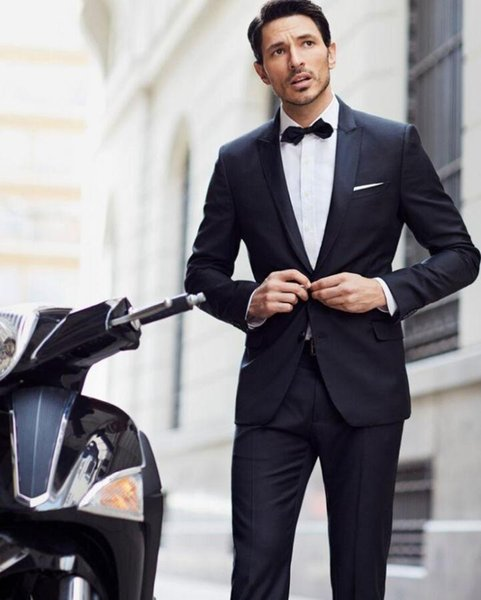 wedding suits for men Black Leisure prom Hot sale Men's morning dress lapel groom suits two-piece (jacket+pants)fashion style