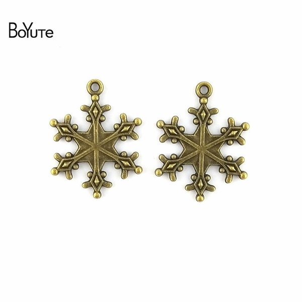 BoYuTe (100 Pieces/Lot) 23*29MM Vintage Accessories Parts Zinc Alloy Antique Bronze Silver Snowflake Charms for Jewelry Making Diy Handmade