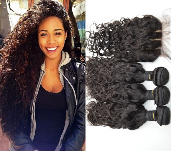 Virgin Indian Hair Bundles With Closure 4pcs lot Unprocessed Human Hair Extensions Indian Water Wave Silk Lace Closure G-EASY
