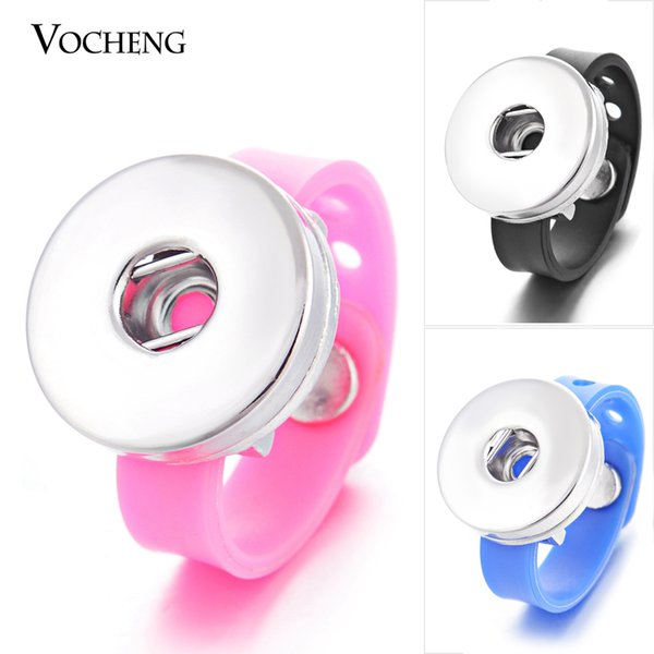 Vocheng NOOSA Ginger Snap Ring 11 Colors Silicone 18mm Button Jewelry NN-341