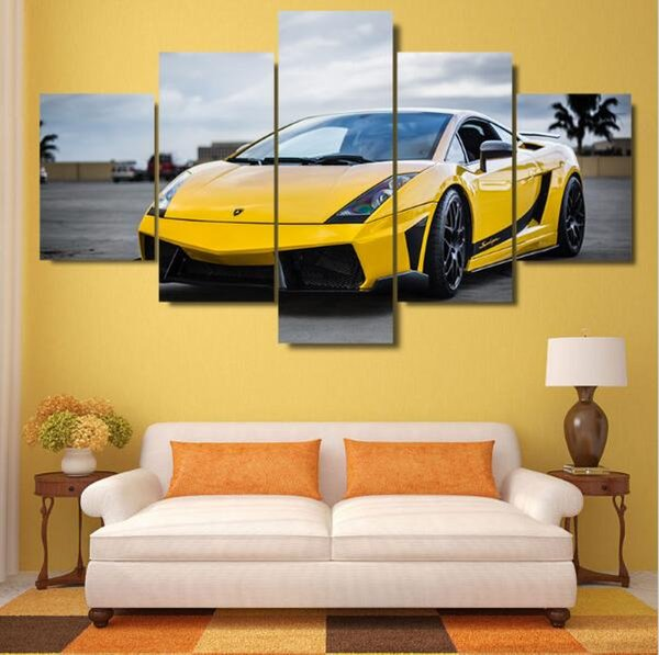 5 Piece canvas art new Shelby Mustang Car Print Canvas Paintings decoration for home Wall for Living Room free shipping