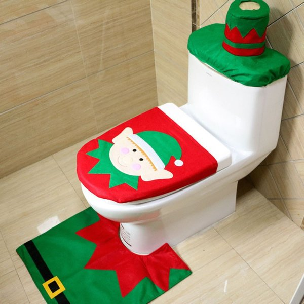 2017 Cartoon Elf Toilet Seat Cover Christmas Decorations Pad Water Tank Rug 3 Pcs