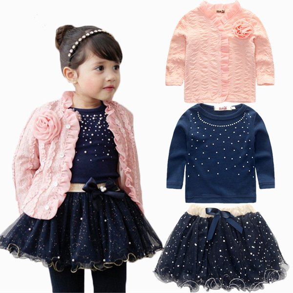 Wholesale New Kids Outfits 3pcs Baby Girls Clothing Sets Coat+T-shirt+Skirt Dress Tutu Princess Kids Clothes Set Suit Pink Costume