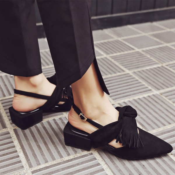 Kid Suede 2017 New fashion Tassel Butterfly Knot Thick Heel Sandal Vintage Point Toe Buckle Sandals For Summer Comfortable Shoes