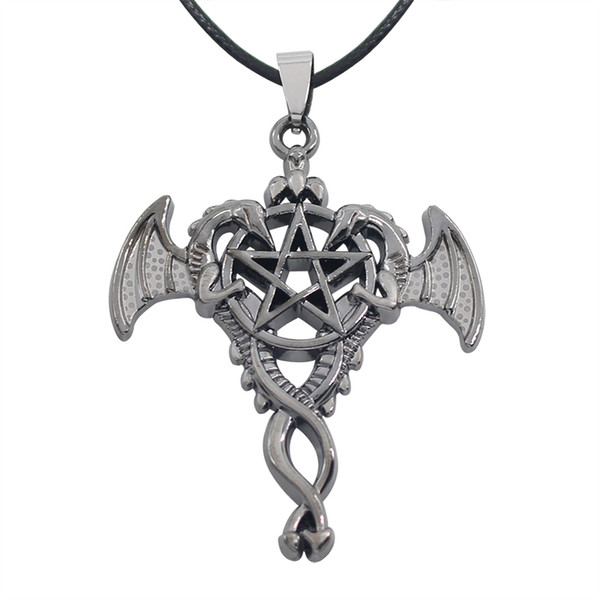 Vintage Punk Double Dragon Pendant Necklaces Hollow Pentagram Kuroshitsuji Pendants & Necklaces Punk Cross Wings Rope Chain Necklaces