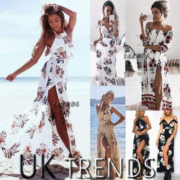 top popular Dress Womens Holiday Sleeveless Ladies Maxi Long Summer Print Beach Dress Size 6-14 Swimwear for women 2020