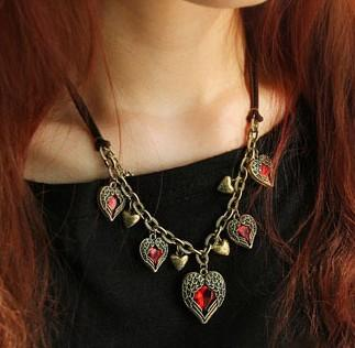 12pcs Free Shipping Wholesale Fashion Vintage Flying Angle Wing Pendant Necklace Red Big Gem Heart Necklace