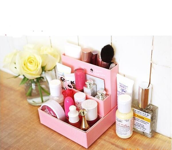 Lovely DIY Paper Board Storage Box 4 Colors Desk Decor Stationery Makeup Cosmetic Organizer