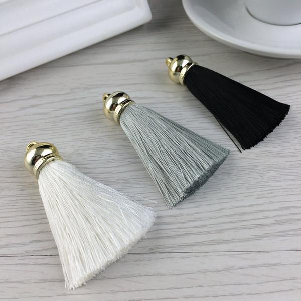 Atacado new silk borla keychain para as mulheres trinket diy charme chaveiro anel para bolsa bolsa accessiories para fazer jóias de presente de natal