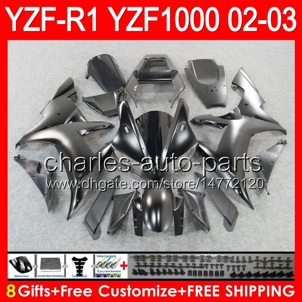 8gifts Cuerpo para YAMAHA YZFR1 02 03 YZF1000 YZF-R1 02-03 negro mate 92NO69 YZF 1000 YZF-1000 YZF R 1 YZF R1 2002 2003 negro mate Carenado