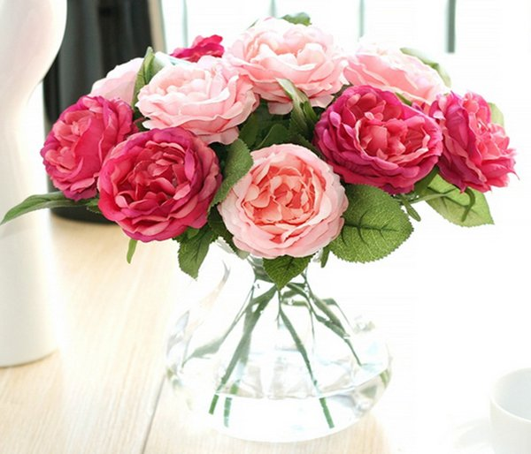 top popular Wholesale 50pcs Charming Artificial Silk Fabric Roses Peonies Flowers Bouquet White Pink Orange Green Red for wedding home hotel decor 2021