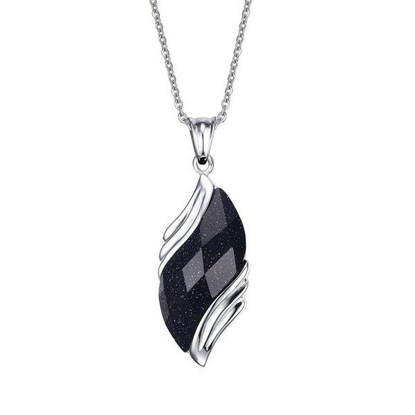 Unisex Fashion Retro Jewelry Pendant Blue Gravel High Polished Stainless Steel Angel Eyes Shaped Pendent Necklace Size 17*34MM