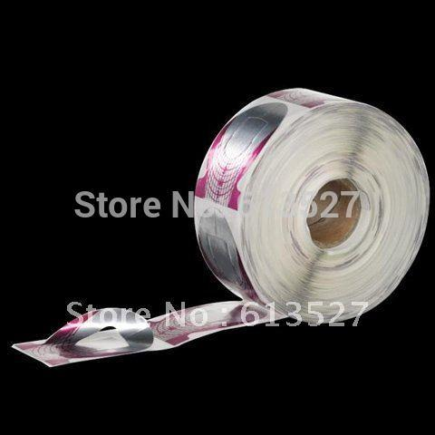 Wholesale- Free Shipping - 500 Pcs/Roll Purple Manicure Tool Nail Art Form Guide Extension Forms For UV GEL Polish Acrylic