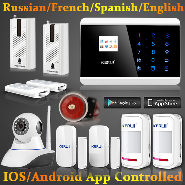 LS111- Android IOS Wireless GSM SMS Home Alarm Security System Auto Dialer Wifi IP Camera+Shock Door sensor detector alarm system