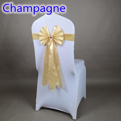 Champagne color chair sash long tail butterfly style wedding chair decoration luxury chair bow tie wholesale lycra spandex sash