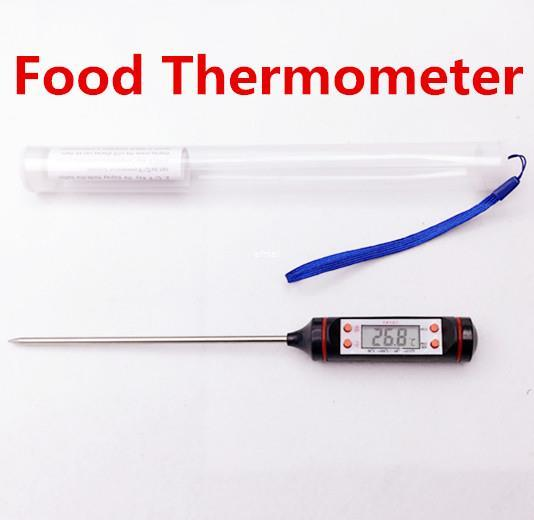 Freeshipping 100pcs/lot Kitchen Cooking BBQ Temperature meter LCD Digital Probe Thermometer for food Termometro test with retail box