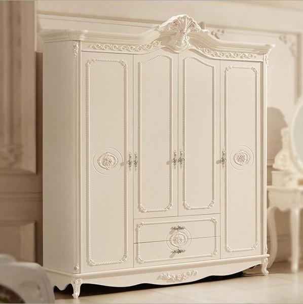 hot selling new arrival four door wardrobe modern European whole wardrobe French bedroom furniture wardrobe pfy10045