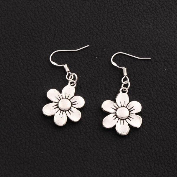 Flower Earrings 925 Silver Fish Ear Hook Antique Silver Dangle Chandelier E338 17.1x38.5mm 30pairs/lot