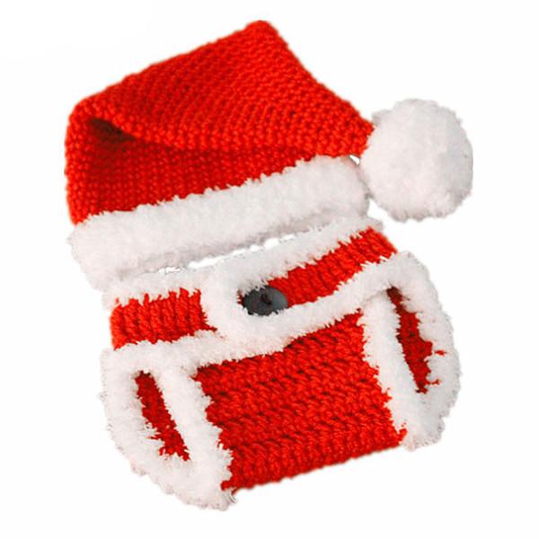 Новорожденный Санта-Эльф костюм, ручной вязать крючком мальчик девочка помпон Рождество шляпа и пеленки обложка набор, младенческой малыша Фото опора