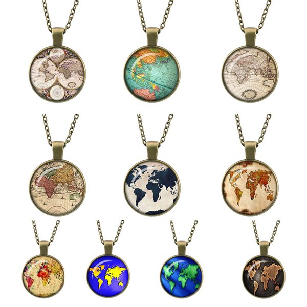 globe map of the world, new trendy Retro Bronze necklace pendant jewelry world travel Curved glass adventurer link chain pendants