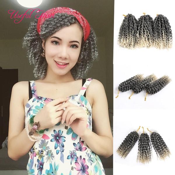 best selling Malibob crochet hair 8inch Kinky Curly Crochet braids Synthetic Malibob Braids Hair Extension marlybob Bug 3pcs Lot marley braid kanekalon