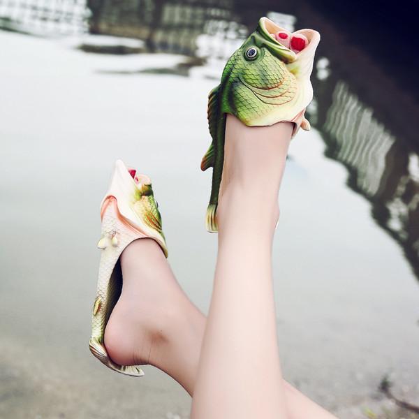 2017 Fashion Creative Fish Slippers Woman Personality Fish Sandals Women Bling Flip Flops Slides Fish Beach Slippers Zapatillas