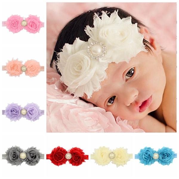 24Pcs Baby Pearl Rhinestone Flower Headband Baby Girl Elastic Hairband Kids Hair Accessories Beautiful HuiLin C29