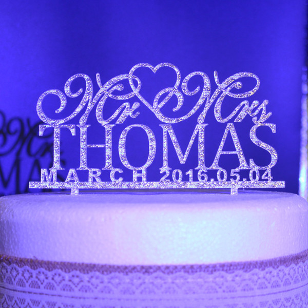 Wholesale-Personalized Wedding Cake Toppers Custom name date Mr Mrs Acrylic gold silver glitter Wedding Party Decoration cake Accessory