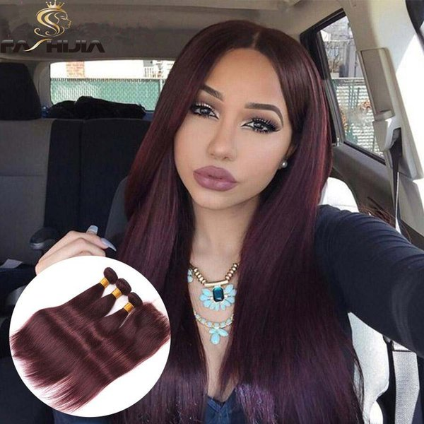 lace frontal with bundles Brazilian virgin hair with closure burgundy straight hair extension ponytail black women wine red weave closure