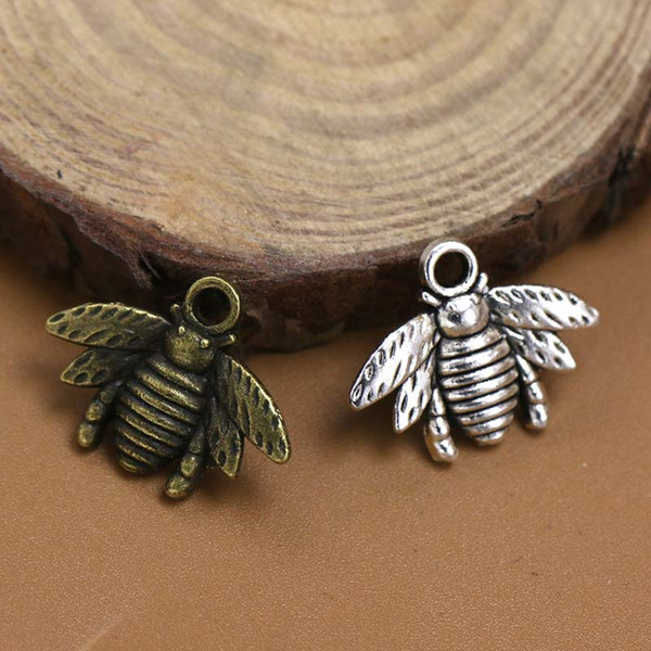 Hot ! Free shipping 150pcs Antique silver / Bronze Zinc Alloy Lovely Bee Charm Pendant 16x21mm