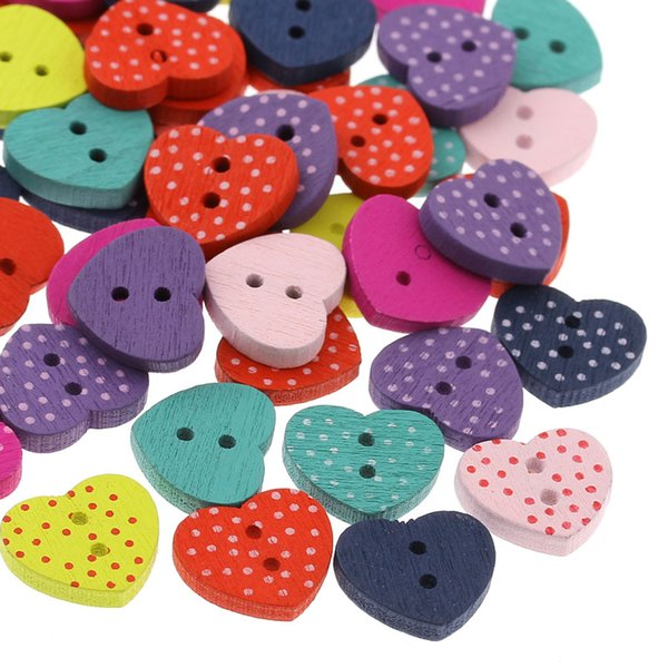 Whole sale 200PCS Wooden Buttons Sewing Crafts Scrapbooking Heart Mixed 15mm x13mm Sewing Accessories Craft Supplies