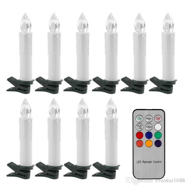 10pcs batterie scintillement RGB thé sans flamme télécommande LED cône bougie lumière de mariage de noël arbre + 12 contrôleur de clé