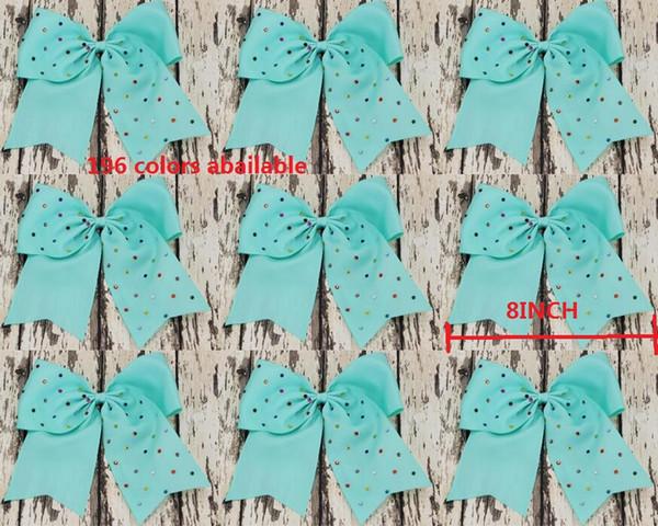 8 Inch jojo Rhinestone hair bow Elastic Ties/ Spring clip/ crocodile clip/ Cheerleading Cheer Bow Grosgrain Ribbon Hair Accessories 24pcs/