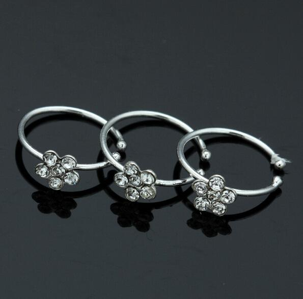 Small Thin Flower Clear Crystal Nose Ring Stud Hoop-Sparkly Crystal Nose Ring for girlfriend birthday gift