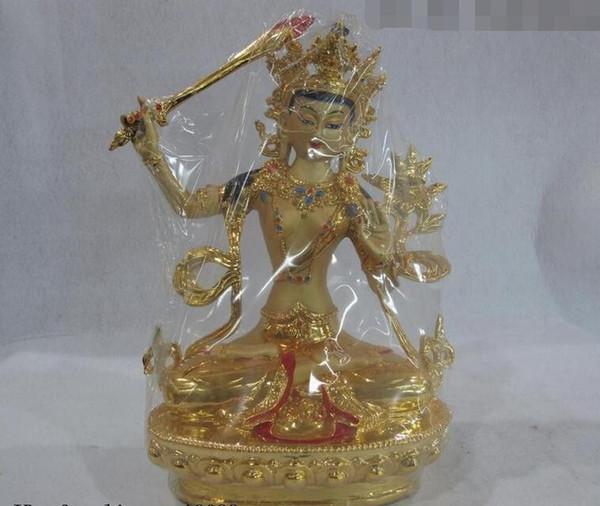 11 Tibet Fane Bouddhisme Cuivre Doré Peint Manjusri Bodhisattva Kwan-Yin GuanYin