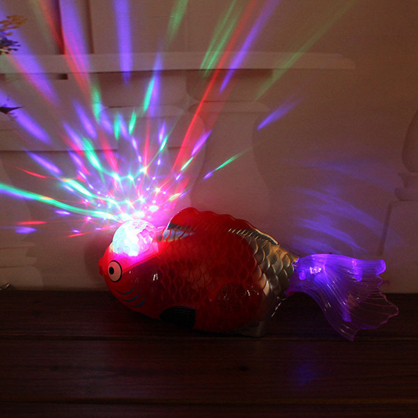 The new creative music light music electric flash fish fish stall children flash toys wholesale